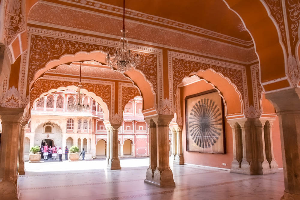 The main courtyard of the City Palace also know as the Pink Palace. one of India'a best photo spots