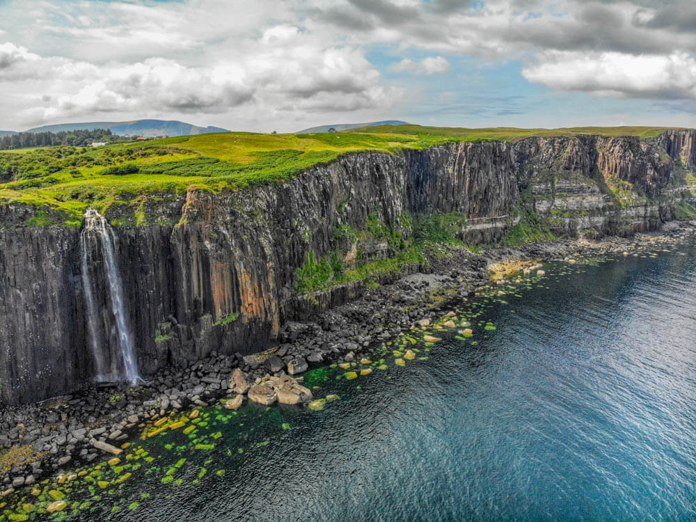 Scotland photo tour including aerial drone photo of Mealt falls and Kilt Rock on Isle of Skye Scotland