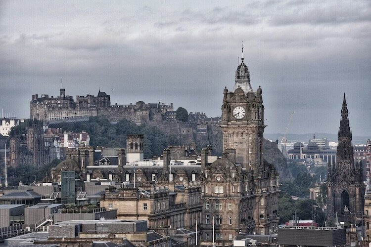 Scotland photo tour including photo of the view of Edinburgh castle and clock tower from Calton hill